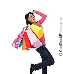 säcke, frau- einkaufen, junger, schwarz, aufgeregt