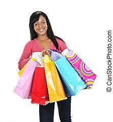 säcke, frau- einkaufen, junger, schwarz, glücklich
