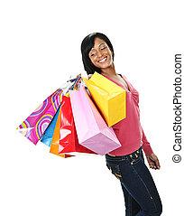 säcke, frau- einkaufen, junger, schwarz, lächeln
