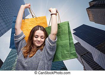 säcke, frau- einkaufen, junger