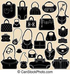 säcke, frau, handbags., farben, satz, schwarz, weißes,...