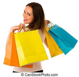 Säcke, frau, shoppen, bunte, aus, Freigestellt, junger, whi,...