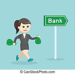 säcke, geld, gehen, besitz, geschäftsfrau, bank