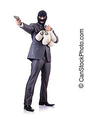 Säcke, geld, kriminell, geschäftsmann