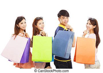 säcke, glücklich, shoppen, junge leute