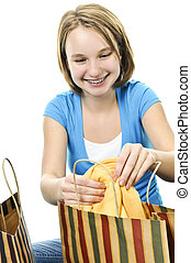 säcke, jugendlich, shoppen, m�dchen