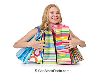 säcke, m�dchen, shoppen, attraktive