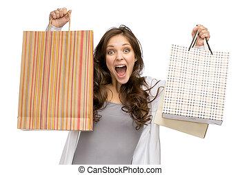 säcke, m�dchen, shoppen, junger, glücklich