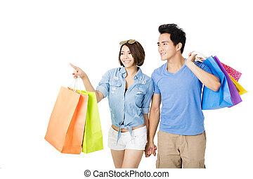 säcke, paar, shoppen, junger, glücklich