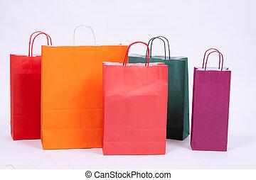 säcke, papier, shoppen