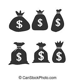 säcke, satz, geld