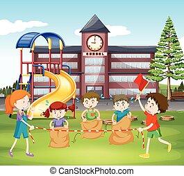säcke, schule, springende , kinder