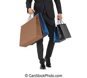säcke, shoppen, auf, klage, schließen, mann