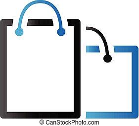 säcke, shoppen, duo, -, ton, ikone