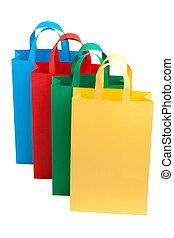 säcke, shoppen, reihe