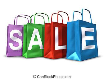 säcke, shoppen, symbol, verkauf