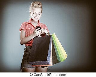 säcke, shoppen, texting, telefon, m�dchen, pinup