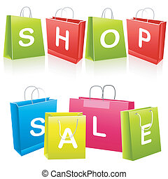 säcke, shoppen, verkauf