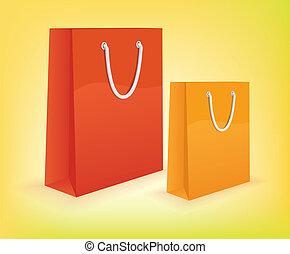 säcke, vektor, shoppen, bunte