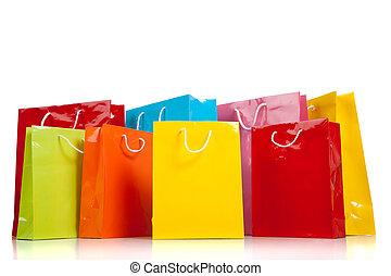 säcke, weißes, shoppen, gefärbt, gemischt