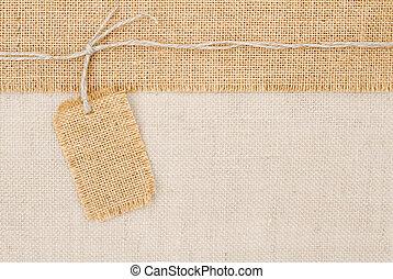säckväv, över, säckväv, struktur, etikett, prissättning