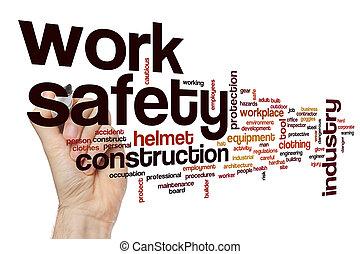 säkerhet, arbete, ord, moln