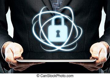 säkerhet, begrepp, digital