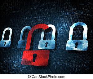 säkerhet, begrepp, låsa