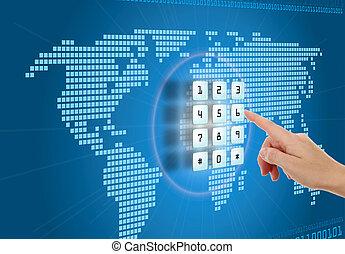 säkerhet, begrepp, skydd, internet