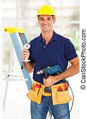 säkerhet, bevakning, system, installerare