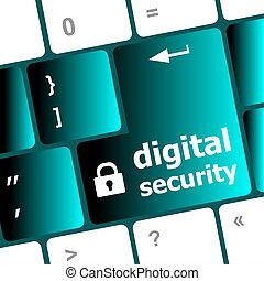 säkerhet, concept:, dator tangentbord, med, digital, säkerhet, ikon, på, komma in, knapp, bakgrund