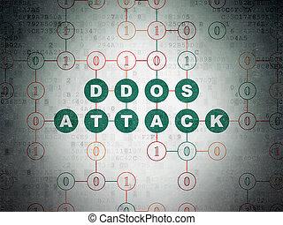 säkerhet, concept:, ddos, angrepp, på, digital, data, papper, bakgrund