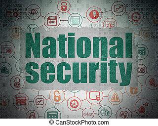 säkerhet, concept:, nationell säkerhet, på, digital, data, papper, bakgrund