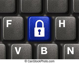 säkerhet, dator facit, tangentbord