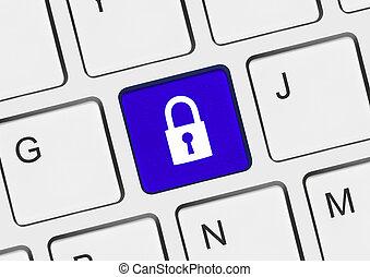 Säkerhet, dator, nyckel, tangentbord