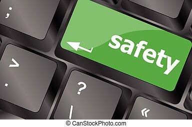 säkerhet först, begrepp, med, nyckel, på, dator, keyboard.,...