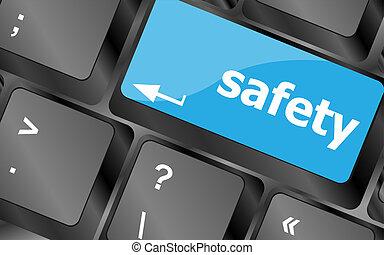 säkerhet först, begrepp, med, nyckel, på, dator tangentbord
