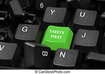 säkerhet först, ord, på, grön, och, svart, tangentbord,...