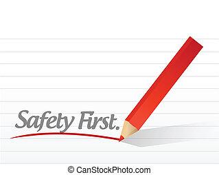 säkerhet först, skriftligt, på, a, vit, stycke om papper