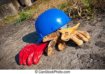 säkerhet gear, utrustning, tillsluta, på, arbete, pl
