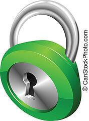 säkerhet, glatt, illustration, vektor, hänglås, grön, glänsande