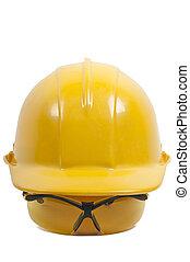 säkerhet, hårt, hatt, glasögon