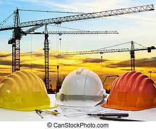 säkerhet hjälm, och, ingenjörsvetenskap, plan, med,...