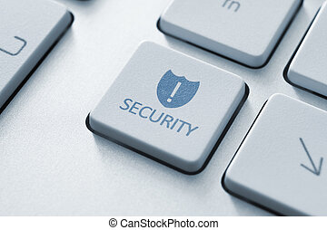 säkerhet, knapp, på, tangentbord