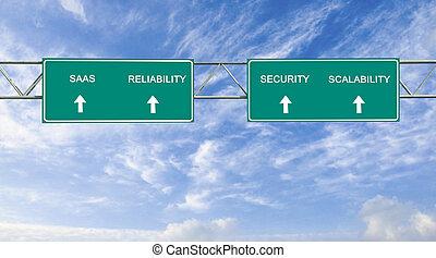 säkerhet, riktning, scalability;, vägmärke, ord, saas, ...