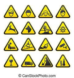 säkerhet, sätta, varning signerar