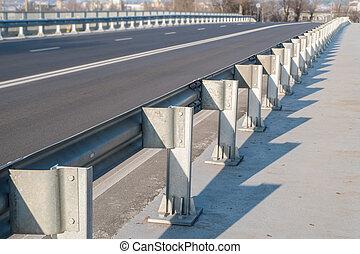 säkerhet spärr, på, motorväg, bro