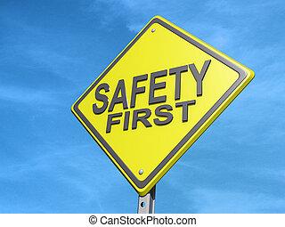 säkerhet, underteckna, avkasta, första