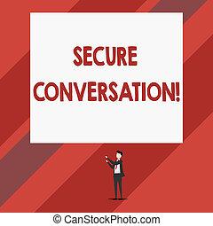 säkra, pekande, foto, kommunikation, isolerat, conversation., stående, nät, säkrat, två, skrift, anteckna, mellan, uppåt, rectangle., affär, stor, visande, räcker, tjänsten, man, encrypted, showcasing, synhåll