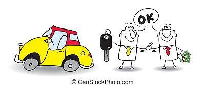 sälja, bil, din